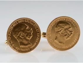 MARKEN MANSCHETTENKNÖPFE mit ÖSTERREICH MÜNZEN / 585 und 900 GOLD