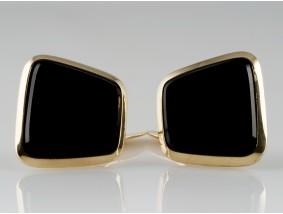 Manschettenknöpfe Onyx Platten 585 Gold 14 Karat