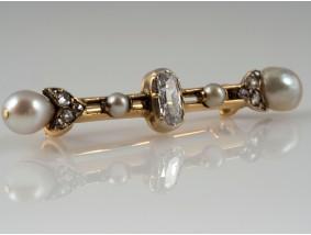 antike Brosche Diamanten Natur Perlen 585 Gold DSEF Expertise