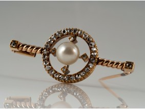 antike Brosche Diamanten Natur Perle 585 Gold DSEF Expertise um 1900