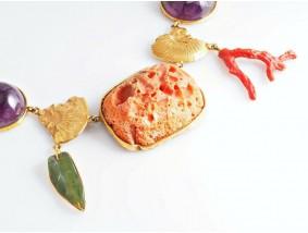 E.R. Nele Schmuck Unikat Collier Kette Farbsteine 750 Gold 18 Karat