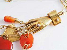 E.R. Nele Schmuck Unikat Collier Kette Karneol Muschel Perle 750 Gold
