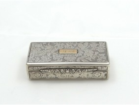 antike Deckel Dose Tabakdose Schnupftabak 12 Loth Silber Handarbeit um 1850