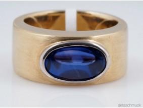 Ring unbehandelter Stern Saphir 585 Gold IGI Expertise ca. 15,52 Gramm