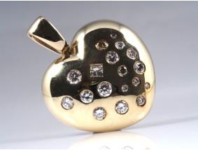 Herz Anhänger 1,50 Karat Brillanten Diamanten 585 Gelb Gold