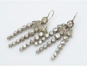antike Ohrringe 9,90 Karat Diamanten Platin um 1900 Wert: 22.320,- EUR