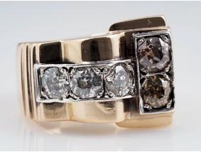 antiker Art Deco Ring 2,00 Karat Diamanten 585 Gold ca. 22,80 Gramm