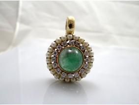 Anhänger 1,00 Karat Brillanten Perlen Smaragd 750 Gold Wert: 4.900,- EUR