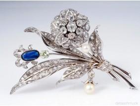 antike Brosche Diamanten Natur Perlen Saphir Platin um 1930 - 1940