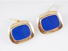 vintage Manschetten Knöpfe Lapis Lazuli 585 Gold Handarbeit