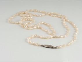 antike Zucht Perlen Kette Collier 925 Sterling Silber