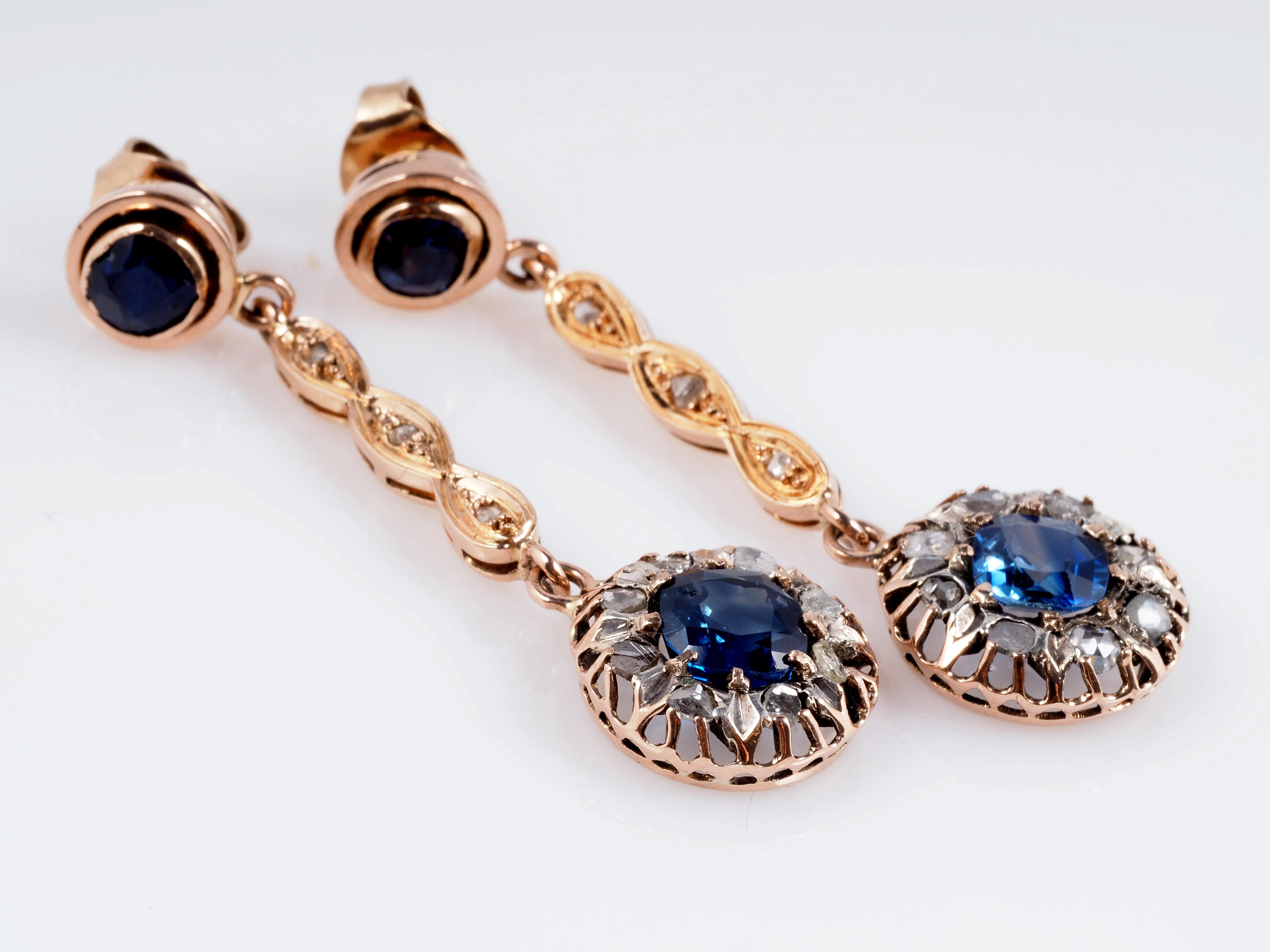 antike ohrringe mit diamanten und saphiren 750 gold. Black Bedroom Furniture Sets. Home Design Ideas