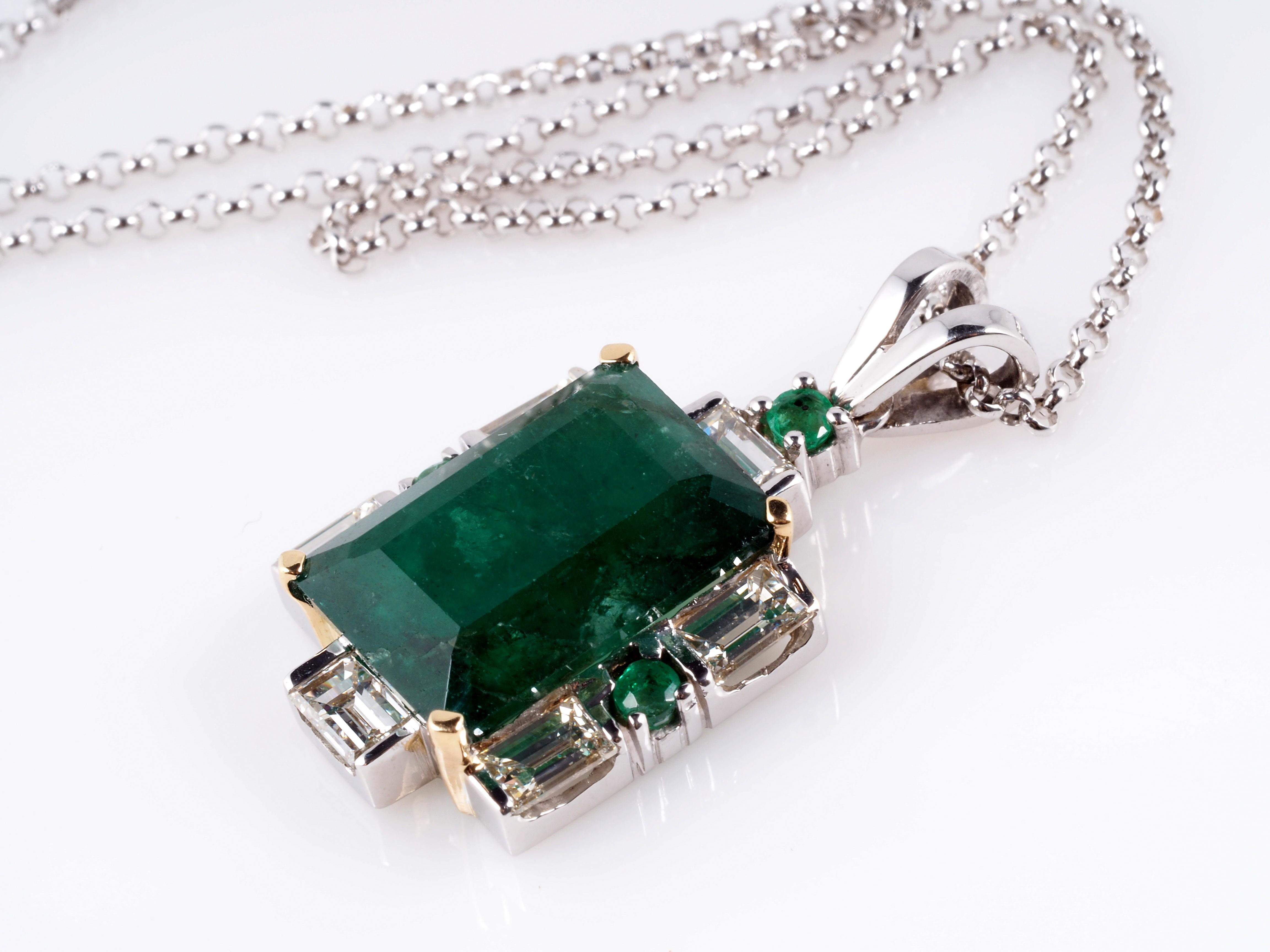 anh nger kette diamanten smaragde 750 gold wert ca eur ebay. Black Bedroom Furniture Sets. Home Design Ideas