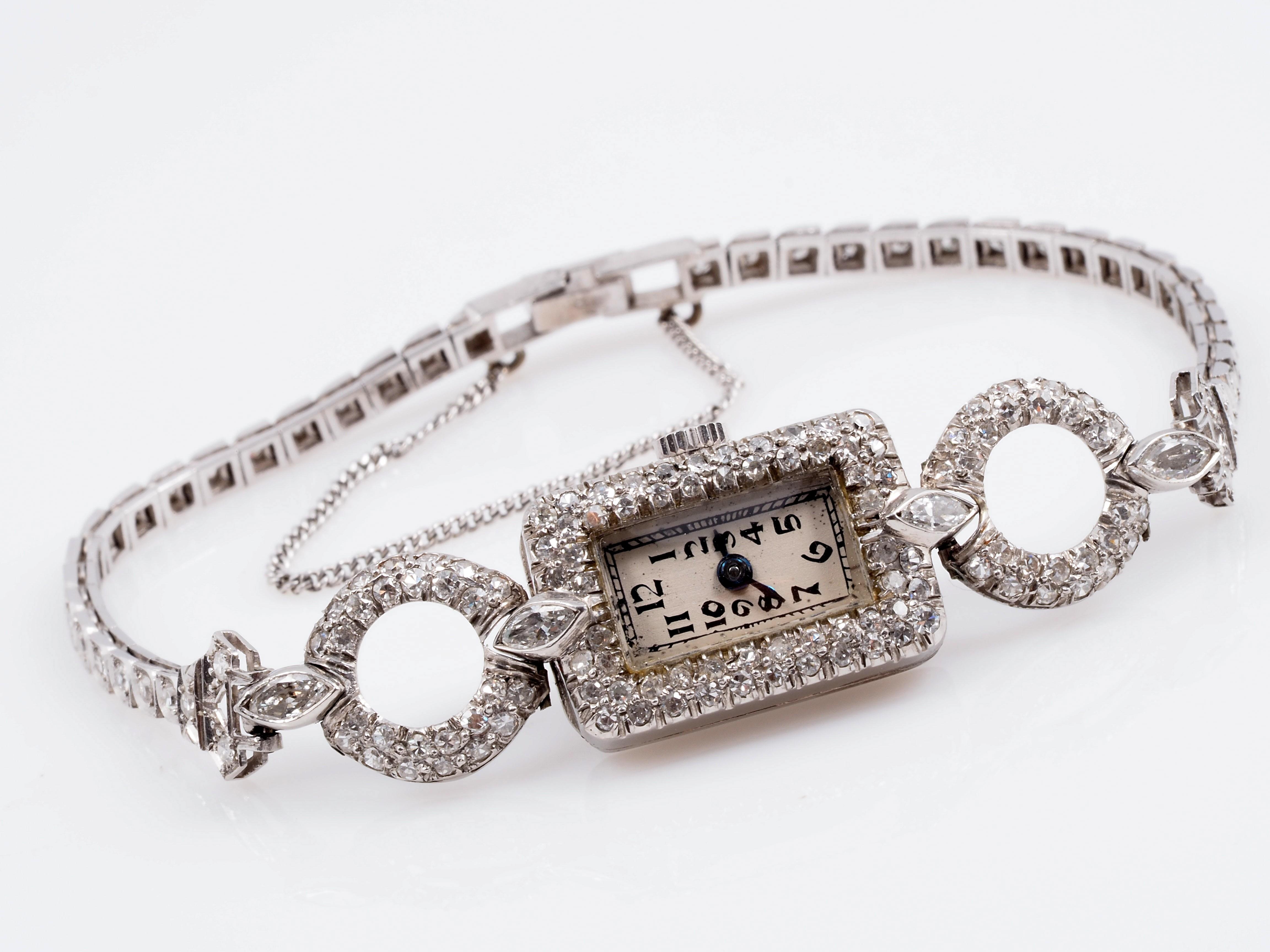 antike damen armband uhr mit 2 00 karat diamanten platin um 1920 ebay. Black Bedroom Furniture Sets. Home Design Ideas