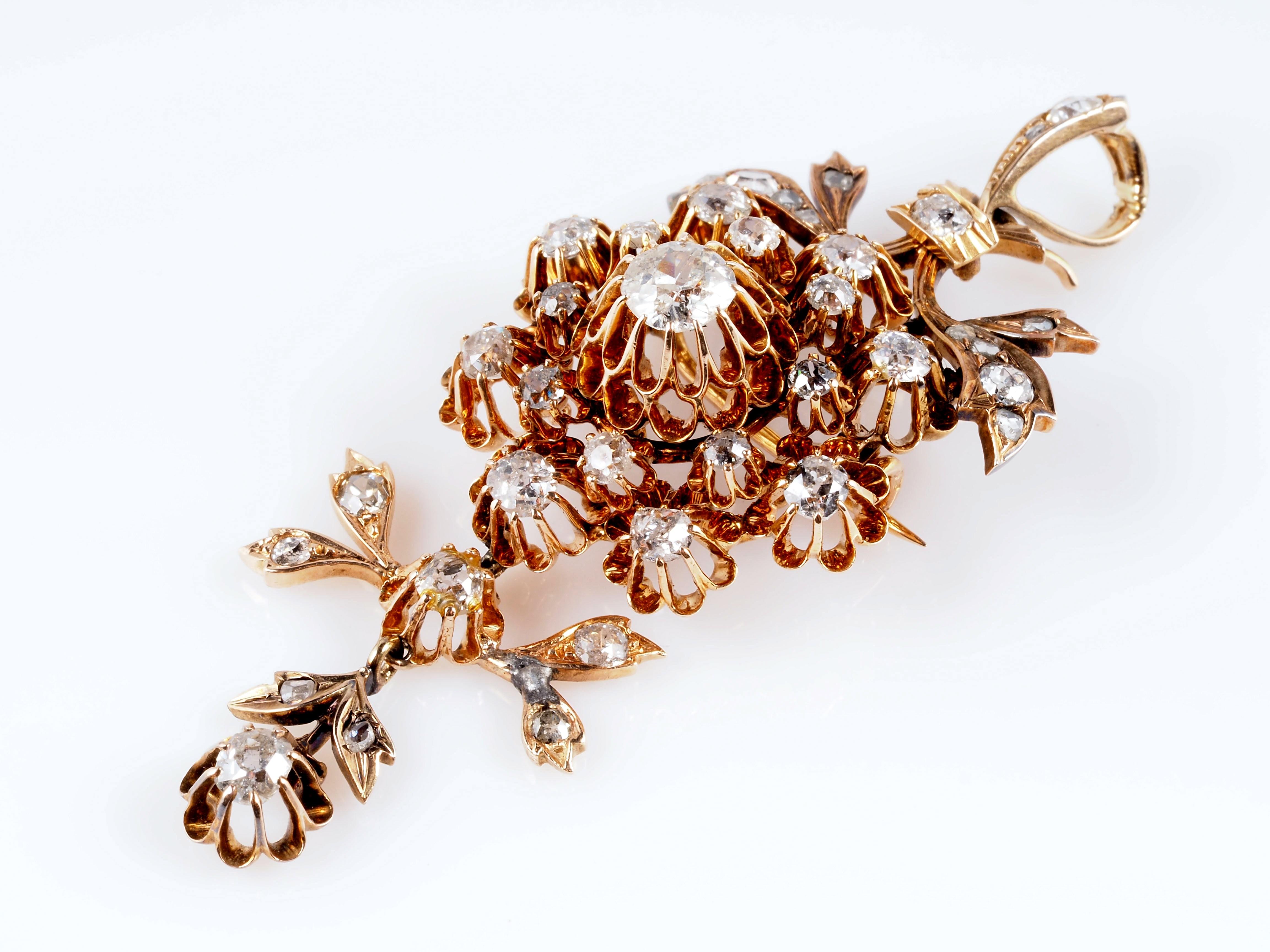 antike brosche anh nger 4 20 karat diamanten 585 gold frankreich um 1880 ebay. Black Bedroom Furniture Sets. Home Design Ideas