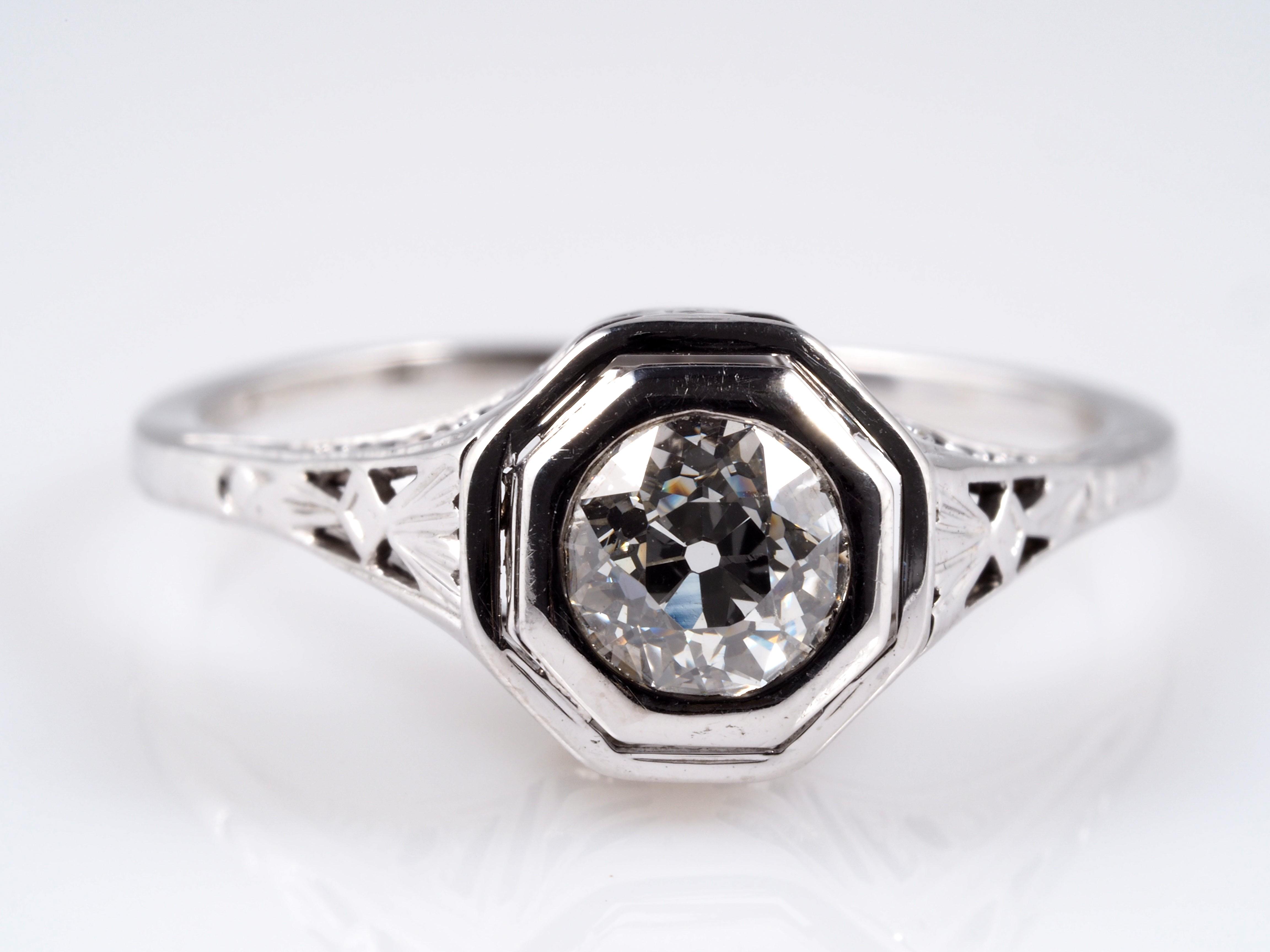 antiker ring mit 0 50 karat solit r diamant 750 gold um 1920 ebay. Black Bedroom Furniture Sets. Home Design Ideas