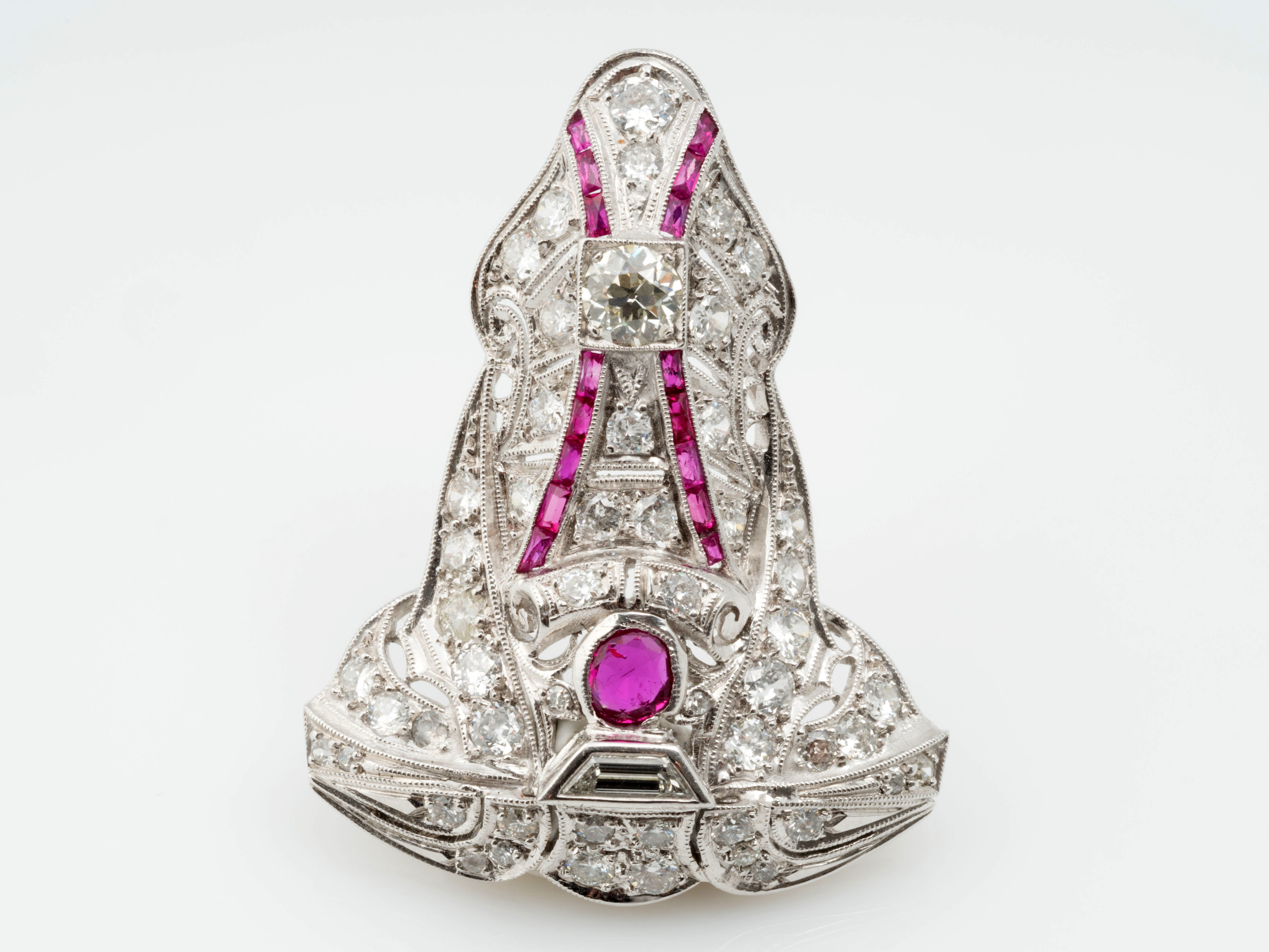 antiker anh nger 2 00 karat diamanten 1 00 karat rubine 750 platin um 1920 ebay. Black Bedroom Furniture Sets. Home Design Ideas