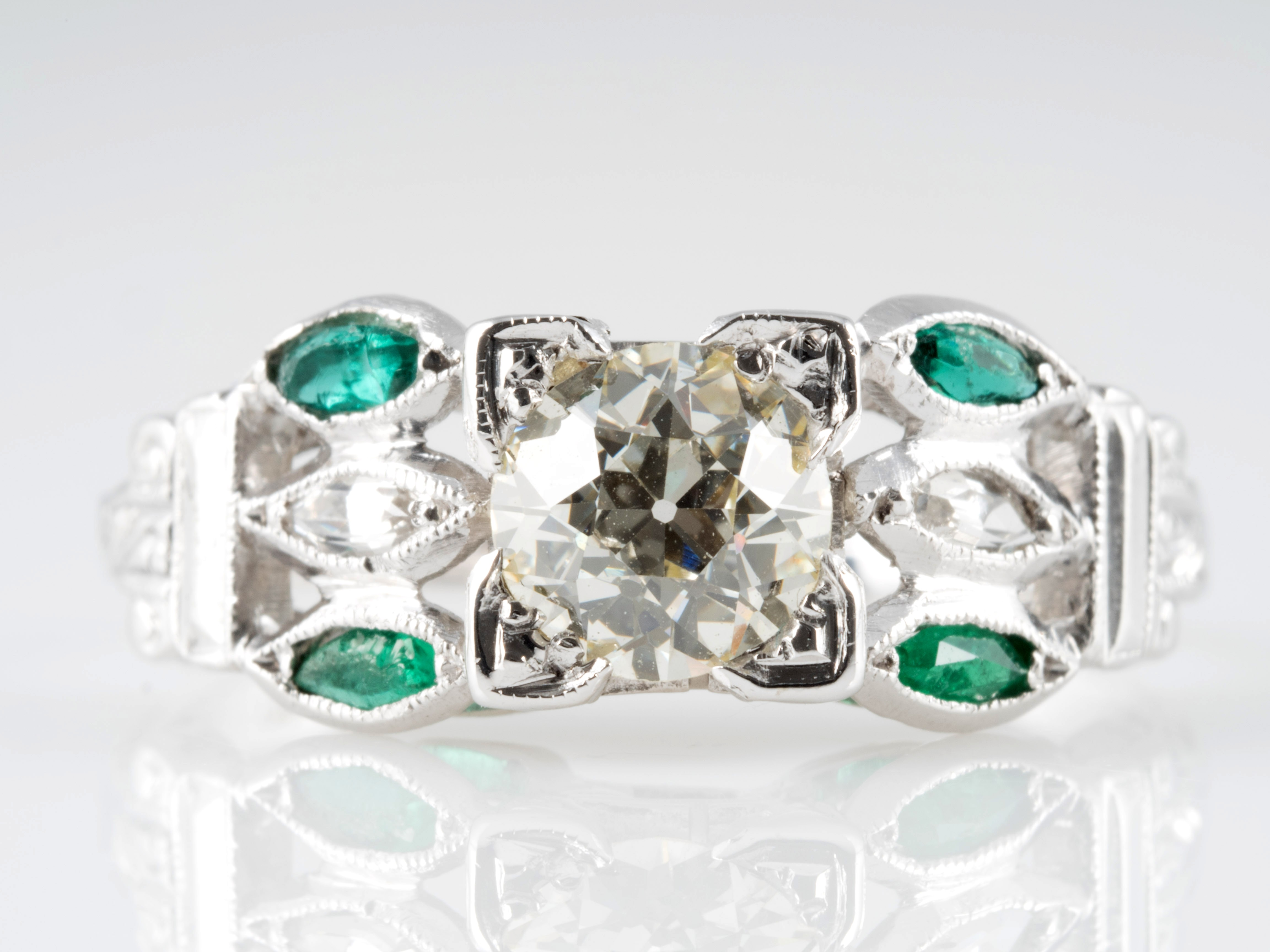 art deco ring diamant saphire smaragde 750 gold wert ca eur ebay. Black Bedroom Furniture Sets. Home Design Ideas